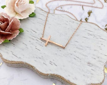 Rose Gold Sideways Cross Dainty Necklace