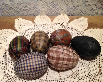 Set of six Decoupaged Eggs