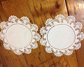 Three Vintage Off White Crocheted Doilies