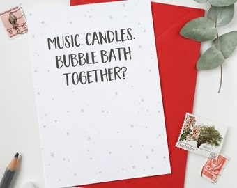 Bubble Bath Together Valentine's Day Card - Funny Valentine's Day Card - Simple Date Night Card - Valentine's Greetings Card – Anniversary