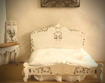 Miniature Dollhouse Queen bed reproduction of Rococo Bed 1:12 Scale Unfinished or White