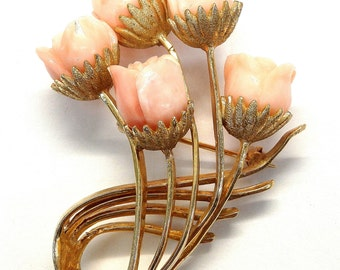 14k Yellow Gold Pink Coral Roses Flowers Brooch #262400517798