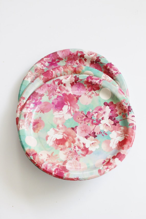 8 FLORAL TEA PARTY 7 Paper Plates Watercolor Flowers