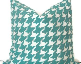 Aqua Pillow Turquoise Pillow Blue Check Pillow Cover Aqua Check Decorative Pillow Cover Blue Check Pillow 0