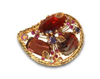 Kramer Austria, Art Glass Brooch, Red Glass, Blue Glass, Gold, Rhinestone Brooch, Porphyr Glass, Vintage 1950s, Vintage Kramer Brooch