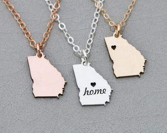 Georgia State Necklace • Georgia Jewelry • Rose Gold Bar Necklace • State Charm Location Jewelry Long Distance Relationship Gift