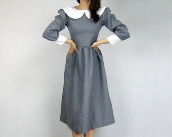 Womens Costume Vintage 80s Peter Pan Collar Dress Halloween Dress Peasant Puff Sleeve Dress 1980s Grey Dress - Extra Small to Small XS S