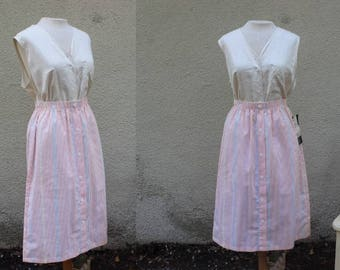 70's Candy Store Skirt | Vintage Deadstock Colorful Pastel Rainbow Vertical Striped Skirt - M