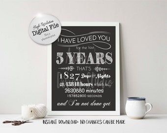 I Have Loved You For 5 Years Timeline Poster, Anniversary Gift, Digital File, Love All These Years, Instant Download