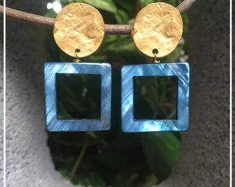 Earrings with Blue Square