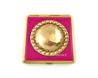 Faceted Medallion Compact Mirror Inlaid in Fuchsia Hand Painted Enamel Art Deco Inspired with Color and Personalized Option
