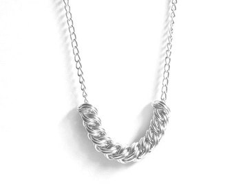Silver Woven Necklace / Chainmaille Jewelry / Herringbone / 10th Wedding Anniversary Gift / 10th Anniversary Gift Wife (Aluminum) / Tenth