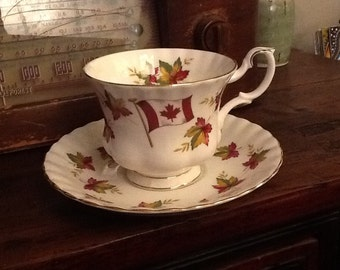 Vintage Royal Albert Sea to sea Canadian maple leaf pattern.