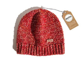 Red Cotton & Wool Slouchy Beanie