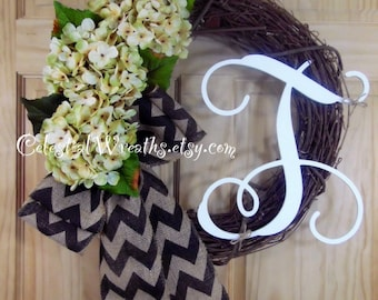 Mothers day Wreath - monogram wreath - hydrangea wreath - grapevine wreath - spring wreath - summer wreath