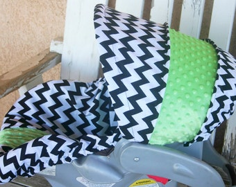 black and white chevron with lime green minky infant car seat cover and hood cover