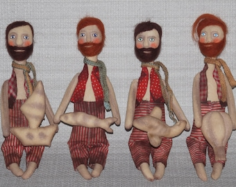 Textile scented doll Man with beard and a dream