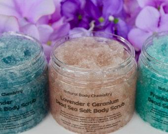 Dead Sea Salt Scrub - Organic Oils, All Natural Body Scrub, Dead Sea Scrub, Body Exfoliator, Hydrate and Smooth Skin, Essential Oils, 4oz8oz
