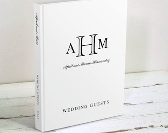 Classic Monogram Wedding Guest Book - Black and White Wedding Wishes Book - Traditional Personalized Guest Book - Wedding Guest Sign In Book