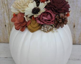Fall Autumn Pumpkin Sola Wood Flower Personalized