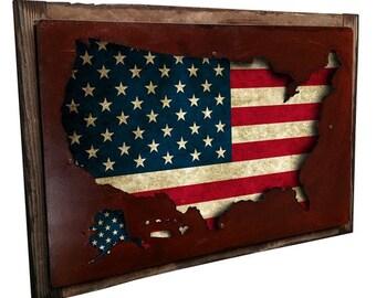 """USA flag map metal sign on barn wood frame, wall art, patriotic decor, 26"""" x 18"""""""