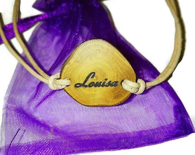 Unique Bespoke Customised Name Jewellery Personalised Bracelet Pendant Charm Custom Handmade Wooden Engraved Bangle Gift For Her