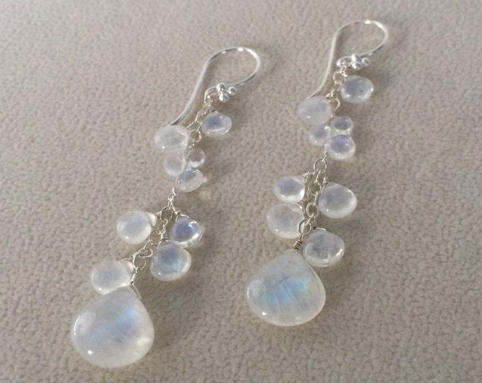 Bridal Wedding Earrings in Sterling Silver and Rainbow Moonstone