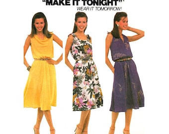 80s Dress Pattern McCalls 7585 Halter Dress Cowl or Shoulder Tie Flared Dress Womens Size 10 Sewing Pattern