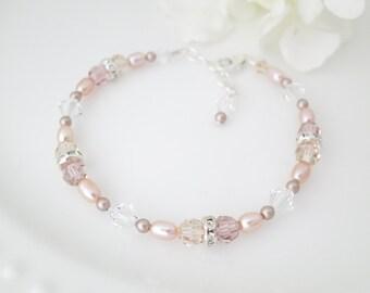 Pink wedding bracelet, Swarovski crystal bridal bracelet, Pink beaded bracelet, Crystal and pearl bridesmaid bracelet