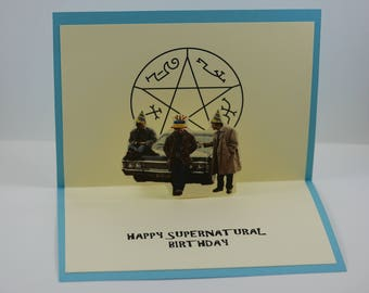 Supernatural Birthday card, Sam and Dean Winchester, Castiel, Birthday card, Sam, Dean, Winchester, Birthday
