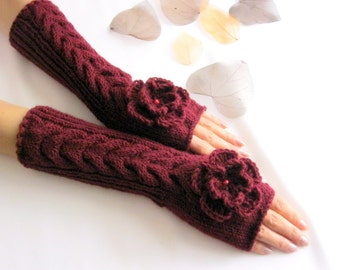 Knit Fingerless gloves | Knitted Fingerless Mittens | Arm Warmers | Wrist Warmers | BURGUNDY  Fingerless Gloves