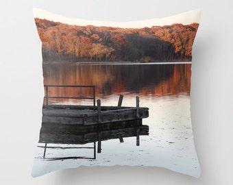 Lake House Pillow, Fall Pillow Cover, Country Home Decor, Velvet Cushion, Autumn Decor, Rustic, Throw Pillow, Cabin Decor, 18x18, 22x22