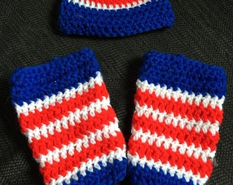 Red White and Blue Leg Warmers and Hat