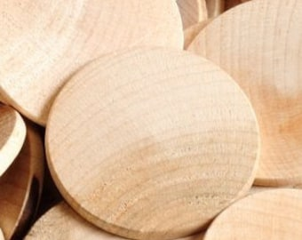 100 Unfinished Wooden Circles 1.5 inch, Small Wooden Circles -Wooden Circles Supplies -Natural Wood Circles -Wood Circles Beads