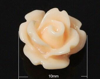 Peach Resin Rose Cabochons 10mm