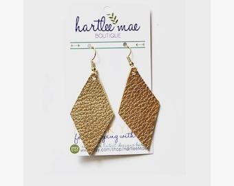 Diamond Shaped Leather Earrings, Gold Leather Earrings, Gold Diamond Shaped Earrings, Lightweight Leather Earrings- ITEM # E3