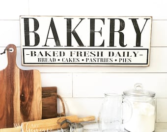 Bakery Hand Painted Wood Sign - Wood sign - Bakery Sign - Distressed Rustic Antiqued sign Decor - Wall Art - Kitchen Decor