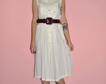 Vintage 80s 90s Ivory Cream Pleated Button Down Tank Dress New With Tags
