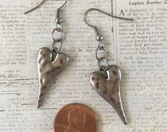 HEART Earrings Gunmetal Pewter Hammered