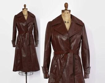 Vintage 70s Leather Trench Coat / 1970s Dark Burgundy Belted Princess Jacket