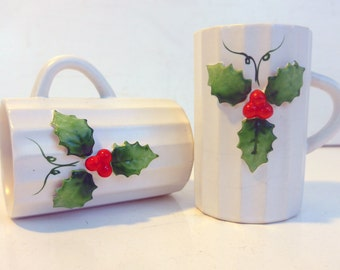2 Vintage Holt Howard Holly Mugs Dated 1962 - Pair Holiday Christmas Coffee Cups Ivory W/ Holly