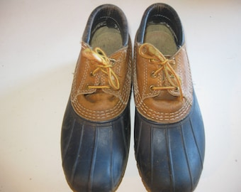 Vintage LL Bean duck shoes, navy with tan leather in size 8