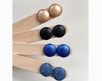 19mm Faux Leather Fabric Button Stud Earrings • Surgical Steel • Hypoallergenic • Pearl Copper • Cobalt Blue • Black • Denim • Leatherette
