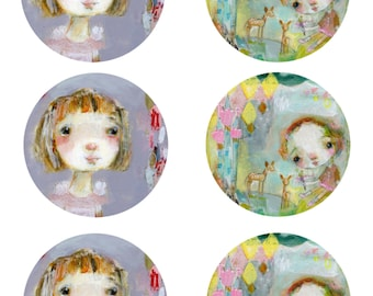 Hope and Magical Twins - sticker sheet - 6 round stickers