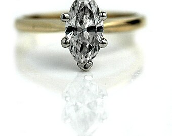 """Marquis Engagement Ring Vintage 1980's Marquis Cut Diamond Engagement Wedding Anniversary Ring Platinum """"The Lizzy"""""""