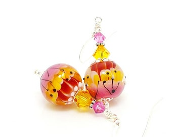 Pink Yellow Earrings, Bright Earrings. Colorful Earrings, Lampwork Earrings, Glass Earrings, Glass Bead Earrings, Unique Earrings