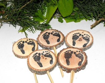 10 Sweet baby foot prints Baby Shower Decorations ~ Woodland baby shower ~ Rustic Baby shower decor ~ Baby foot print wood Cupcake toppers ~