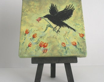 Crow with a Tulip, small original painting