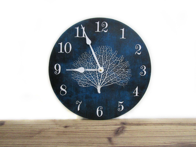Beach House Wall Clock Indigo Blue With Sea Coral Beach