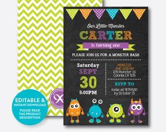 Instant Download, Editable Monster Birthday Invitation, Monster Invitation, Monster Party Invitation, Monster Bash, Chalkboard (CKB.21B)